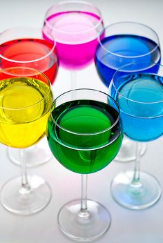 The Light Color Wheel - colored water in glasses