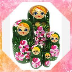 Roses 5 Piece Russian Babushka Doll #matryoshka #babushka #Russiandoll #stackingdoll #Woodendolls #babooshkadoll #nestingdoll #Russiantoy #lacquerbox #Russianbox #Russiangifts #nestingdolls #dollindoll #nesteddoll Russian Babushka, Unique Gifts For Kids, Floral Theme, Wooden Dolls, Roses, Hand Painted, Shapes, Handmade, Hand Made