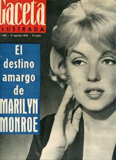 "Gaceta Ilustrada - August 11th 1962, magazine from Spain. Front cover photo of Marilyn Monroe on the set of ""Let's Make Love"", 1960."
