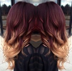 Red Balayage Hair Color Ideas Red Hair red and blonde hair Hair Dye Colors, Ombre Hair Color, Hair Color Balayage, Red Balayage Hair Burgundy, Burgundy Hair With Highlights, Blonde Balayage, Hair Colour, Hair Color And Cut, Cool Hair Color