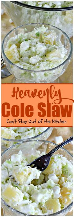 Heavenly Cole Slaw - this fantastic version of coleslaw has marshmallows & pineapple. Sour Cream Cucumbers, Creamed Cucumbers, Marshmallows, Marinated Cucumbers, Slaw Recipes, Cole Slaw, Side Salad, Soup And Salad, Side Dishes