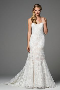 Strapless lace wedding dress with sweetheart neckline and fit and flare skirt