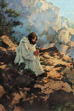 "Michael Dudash Not By Bread Alone...by #MichaelDudash Detail Canvas Signed #Inspirational. I wanted to show the temptation of Christ in a different way. Rather than a flat desert, I chose a lonely spot on a mountain for the first temptation by Satan. It would have been a long, arduous climb to this spot, and Christ would have been hungry and thirsty. His ""aloneness"" is paramount on the left side of the painting and the glory that is God is represented off to the right."