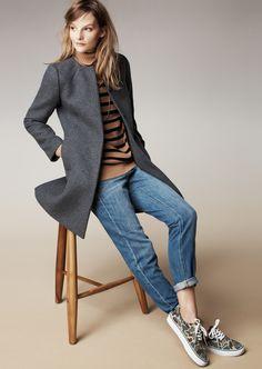 Madewell curator coat, striped turtleneck sweater and the boyjean.