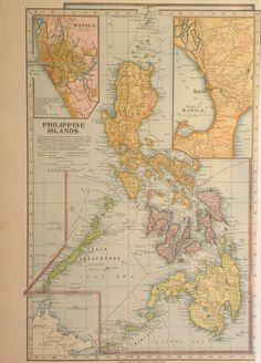 Antique 1899 Atlas Map of Philippine Islands with Treaty of Paris Boundaries