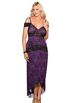 Fashion Bug Plus Size: Exotic Plus Size Apparel: Plus Size Soft Lace Print Long Gown Sleepwear www.fashionbug.us #PlusSize #FashionBug #Lingerie