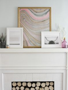 Marbled Paper Art and Mantel Indecision featuring Staredown and Flight of the Ocean by http://www.minted.com/custom-art on http://www.thelovelycupboard.com/2014/03/marbled-paper-art-and-mantel-indecision.html