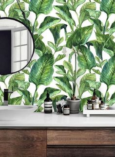 Selbstklebende #Fototapete Mit #Pflanzenmuster. Die #Tapete Hat Ein Muster  Aus Exotischen Bananenblättern