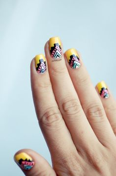 Need inspiration for your next diy nail art design? See our gallery of fun nail art designs that scream summer! Nail Art Tribal, Tribal Nails, Neon Nails, Love Nails, How To Do Nails, Pretty Nails, Nail Art Designs, Cool Nail Art, Nails Inspiration