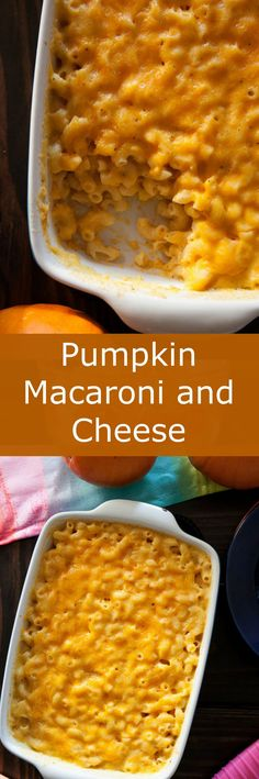 Pumpkin Macaroni and Cheese, a pure comfort food meal.  Recipe uses 1 cup pumpkin puree and 2 cups shredded cheddar cheese.