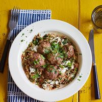Lamb Meatballs with Toasted Orzo - rich, salty and bright all at the same time! I use the leftovers to make Gyros and my, my is this good!