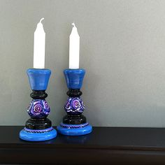 Hand Painted Candlesticks - Wood Candle Holders - Whimsical Decor by Claudine Intner Wood Candle Holders, Candlestick Holders, Painted Candlesticks, Purple Candles, Bright Purple, Fireplace Mantle, Painting On Wood, Chandeliers, Lantern