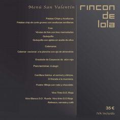 Menú de San Valentin en Rincón de Lola