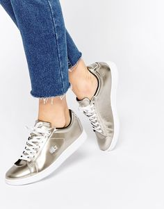 Lacoste Leather Carnaby Gold Evo PRV Trainers at asos.com f6fdd57ccb