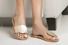"""Cozy flat summer sandals """"Calla"""". Let the summer breeze caress your feet with these beautiful and lightweight designed shoes!"""