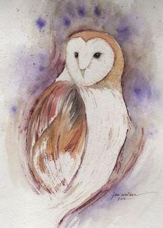 Barn Owl 8x10 original watercolor painting by joniwalker on Etsy