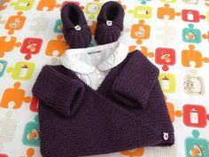 brassière gilet cache-coeur et chaussons citrouille prune : Mode Bébé par veronique-patch-crochet-tricot