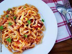 Tagliatelle cu ciuperci si porumb Spaghetti, Cooking Recipes, Vegan, Ethnic Recipes, Desserts, Paste, 30, Foods, Drink