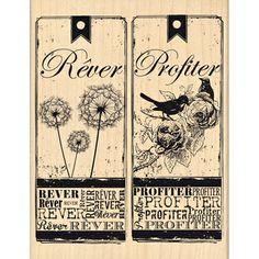 Tampon bois - C'est le Printemps - Rêver et Profiter - 9 x 11 cm