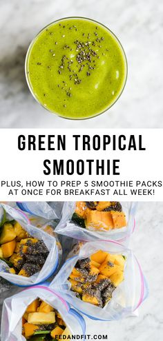 These tropical smoothie packs are loaded with ALL of the good things to keep you full and satisfied, plus, they can be made ahead of time for EASY on-the-go breakfasts throughout the week!