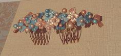 Tiara flores de porcelana fría en tonos turquesa y dorado cobrizo
