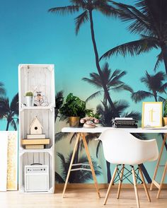 Palm Trees And Blue skies removable and easy to install wall mural (great for rentals) - Photo in mural by Rebekah Steen | Goldfish Kiss + EazyWallz