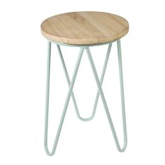 Mint Green Fifties Style Wooden Stool   dotcomgiftshop   Winter Sale Now On