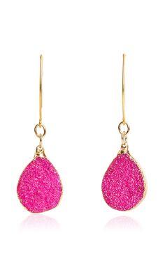 Christina V Fuchsia Pink Druzy Drop Earrings by Cristina V for Preorder on Moda Operandi