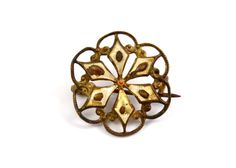 SOLD Antique Victorian tiny round enameled filigree brooch *** $15 at Pipit Vintage
