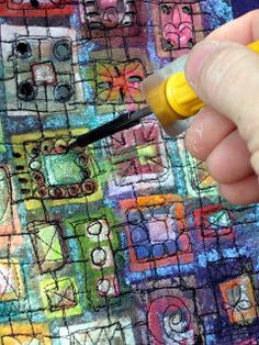 "How to Make a Heat Fused & Melted Collage. Art In Stitches: How to Make an ""In Box"""