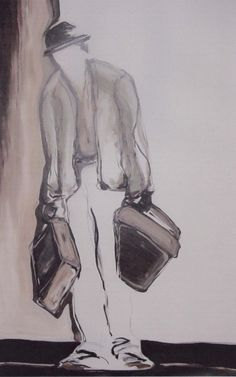 Painting Esther Eggink, Lucky (waiting for godot, Samuel Beckett)