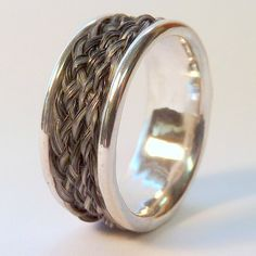 Narrow Cigar Band Horsehair Ring by Solenaro Designs Horsehair Jewelry