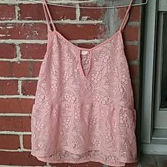 Coral Lace crop top Never worn, great condition Grayson  Tops Crop Tops