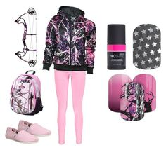 """""""Muddy Girl - Pink Camo - Jamberry Nails"""" by kspantonjamon on Polyvore featuring beauty, Boohoo, TOMS and Realtree"""