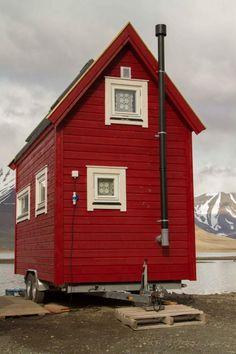 Tiny Red Cottage on Wheels in Longyearbyen, Svalbard