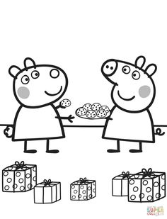 Peppa Pig Colouring Pages Printable Christmas Through The Thousand