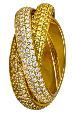 Cartier Trinity ring in Brown, Yellow & White diamonds
