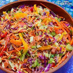 Rainbow Cabbage Coleslaw with Fullyraw Mayonnaise #raw #vegan #gf
