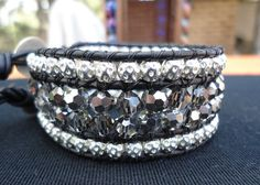 Silver and Sparkle Beaded Cuff Bracelet by SixKings on Etsy, $50.00
