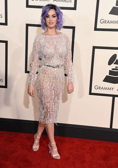 Katy Perry arrives at the 57th Annual GRAMMY Awards on Feb. 8 in Los Angeles