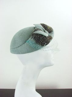 40s Blue Veiled Feather Hat