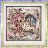 Nativity and poinsettias 7x7 card with decoupage