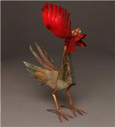 Copper Rooster Sculpture