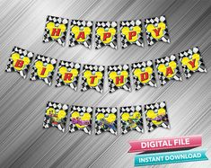 Mickey Roadster Racers Birthday Banner  INSTANT DOWNLOAD