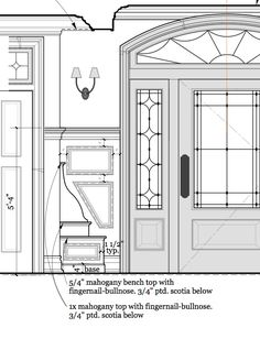 Foyer built-in bench Vintage Architecture, Architecture Details, Interior Architecture, Interior Design, Versailles, Construction Documents, Drawing Interior, Technical Drawings, Door Detail