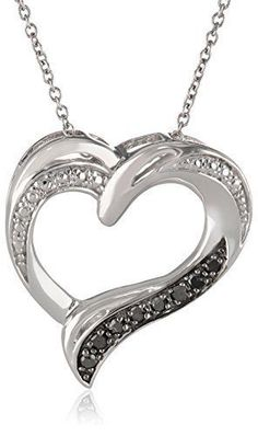 Valentines Day Gift for Her Sterling Silver Black Diamond Heart Pendant Necklace #ValentinesNecklace