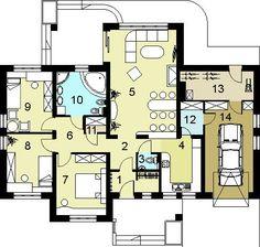 DOM.PL™ - Projekt domu HG-H3A CE - DOM AL1-01 - gotowy koszt budowy House Layout Plans, Family House Plans, Small House Plans, House Layouts, Beautiful House Plans, Beautiful Homes, One Storey House, Minimal Home, Simple House