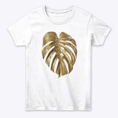 Golden Leaf Of Monstera Deliciosa Plant White T-Shirt Front - Golden Monstera Plant t shirt / Golden Monstera Leaf t shirt / Plants Aesthetic / Gold Plant Decor / Golden Monstera Deliciosa Leaf t shirt