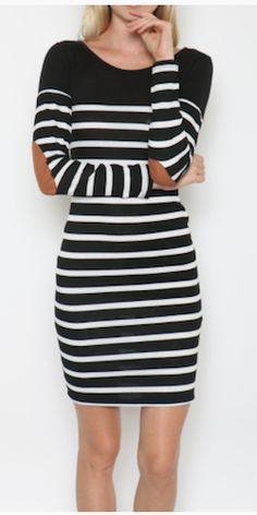 Striped Elbow Patch Dress - Black – Simple Arrow Boutique