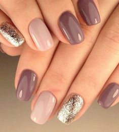 Mauve glitter nail art #nailart